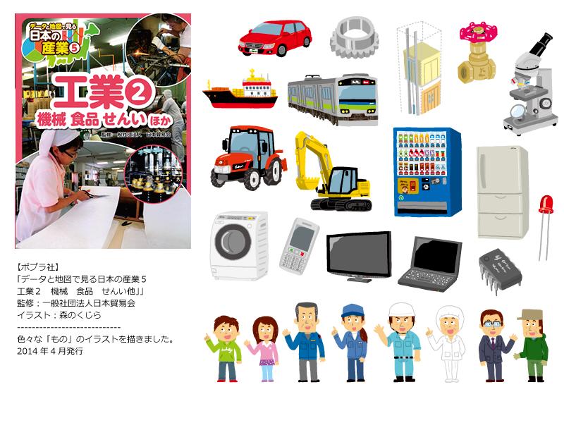 ■【工業イラスト】ポプラ社『データと地図で見る日本の産業5 工業2 機械 食品 せんい他』