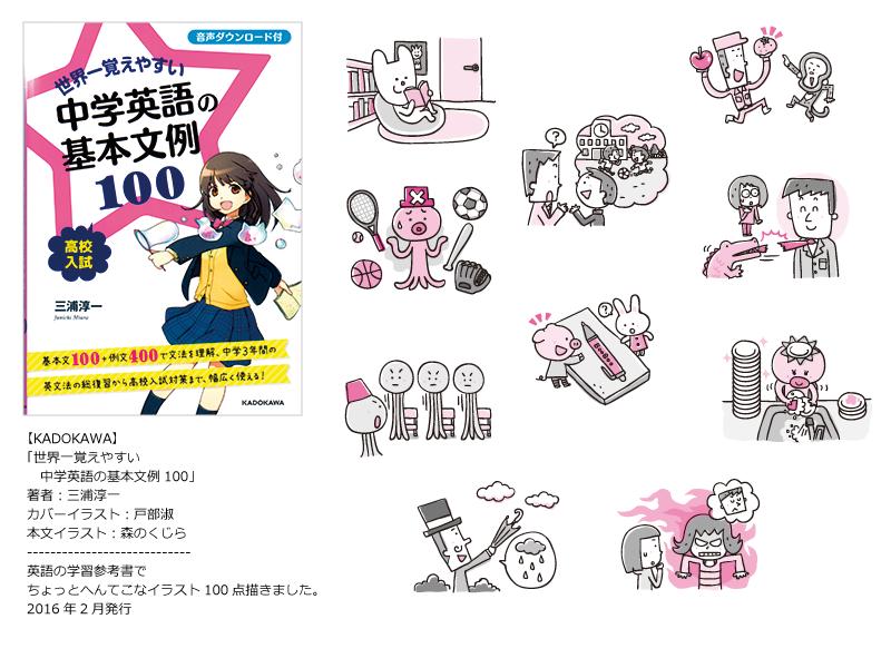 【学習参考書イラスト】<br /> KADOKAWA『世界一覚えやすい 中学英語の文例100』
