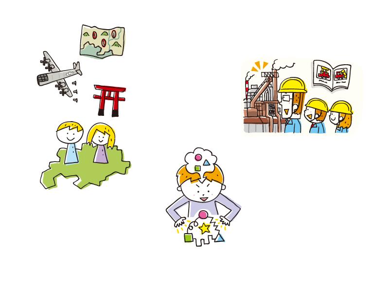 【線画イラスト】日本文教出版『社会科NAVI 2017  Vol.15  「著者だより:校区の歴史・地理を教える」「ここに注目!:社会科での主体的・対話的で深い学び」 「授業力アップをめざす先生のための社会のABC」』